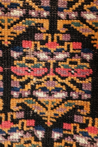 Meshkin - Ardebil, around 1910. Antique. Misterious rug.  Very interesting pattern of a field filled with Simogh the mystical fire bird. What looks like a plant or flower is in fact an  ...