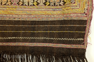 Antique Verneh Karabach, south Caucasus, Armenian culture, Silk on a kilim ground of dark brown wool. 