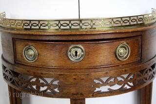 Demi Lune table, Louis XVI, 1775 - 1785, oak.  High 72 Cm, Wide 52 Cm deep 32 Cm.