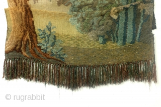 France or Belgium, late 18th century, wool and silk last 3 photo's are from the back side. 240 x 114 Cm. 8 feet high and 3.8 feet wide.
