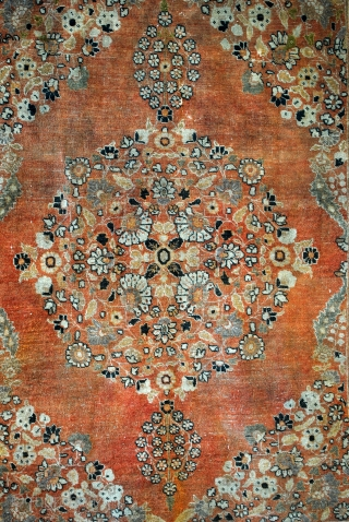Tabriz, Hadji Jalili, late 19th century, 116 x 157 Cm.   An open field with beautiful apricot.  Not washed.