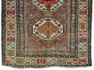 """Caucasus, Shirvan area, 1900 - 1920. Even wear, sharp crispy details.  118 x 168 Cm. 47"""" x 67""""."""