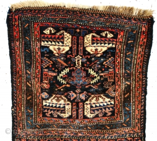Antique Jaff Kourdish Bag face, 100 to 130 years old, with four fire spitting dragons. 