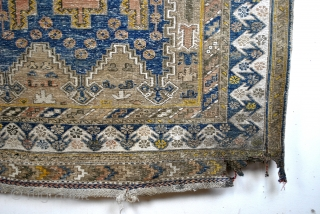 Soumack kilim , antique, 100 years, AS IS, damaged right corner below, and two tiny holes top right corner. Not washed, as found.  Restauration project.