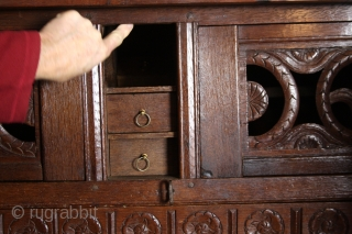 """Fine Dutch Kussenkast, 17th century. Oak and palissander.  With secret compartment, 3 hidden drawers.  High 205 Cm 6Ft 10"""", wide max 198 Cm 6.6 Ft deep 55 cm 22inch.  Please ask for  ..."""