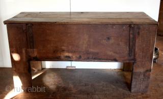 "German 17th century STOLLENTRUHE.  Oak. wide 170 Cm. 5 ft. 8 "" High 87 Cm. 3 feet. deep 2.1 ft.  Restauration up to original hight.  Ask for details."