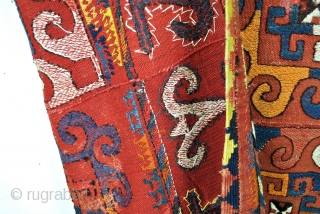 Large Uzbekistan tribal Suzani-Kilim, Kilim with embroidery. 