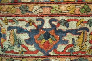 Arraiolos, Portugal, 19th Century embroided rug.  286 x 190 Cm. 9.5 ft. x 6.3 ft.   Untill the 19th century the people in Arraiolos  used Persian designs like this Heriz design.  There are  ...