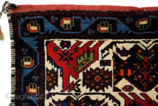 Tribal Afshar bag.  83 x 66 Cm. 2.7 ft. x 2.2 ft.  1970.   Wool on wool. the back is kilim.  In perfect condition.