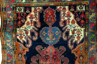 Collector's item. Antique Hamadan/Bakshaise 1920. 268 x 130 Cm. 9ft. x 4.3 ft.  Gymyl design, also called Kabala design.  Original from the north Caucasus;Derbent and the 18th century.  This design was later made in the  ...