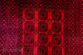Afghan Bochara. Wool on wool.  340 x 250 Cm. 11.3 ft. x 8.3 ft.  Deep velvet glow and great wide borders!  1930. 80 years old.