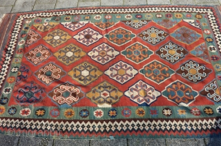 Qashqai Kilim, 278 x 160 cms., ca. 1900. Very clothlike and pliable. With two small damages and a few scattered minor repairs. Natural dyes.