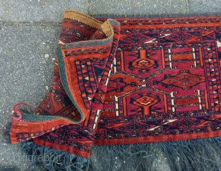 "Saryk Turkmen Torba 116 x 38 cm., 3' 10 x 15"". Great condtion without any wear and in full pile, with lower cotton for the whites. Washed. Very slightly tip faded orange-red  ..."
