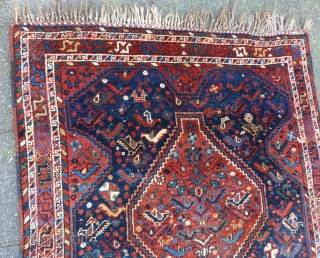 "Glowing Qashqai square rug, 112  x 112 cm., 3'8"" x 3'8"", ca. 1900. Full pile, without any wear. Great saturated dyes, all natural. Five scattered mothing spots, fingertip seize and a  ..."
