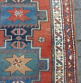 "Antique NW-Persian/ Caucasian runner, 312  x 105 cm., 10'3"" x 3'5"" on woolen ground. With some wear and with all natural dyes. One older repair ( see pict. 3). Washed."