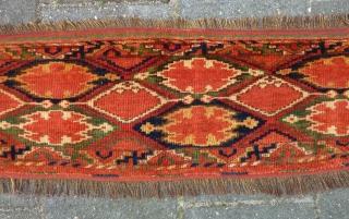 Ersari Beshir Torba, 32 x 118 cm. Full pile, no repairs, all natural dyes.
