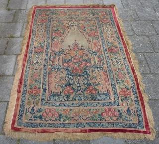 Ottoman Banya Luka appliqué, 18th c. 185  x 125 cm., Wool and some silk embroidery.Prayer panel.