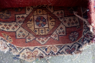"Luri/Qashqai quran(?) bagfront, 56  x 44 cm., 22"" x 17"". The backside is not original, as is the wrapping at the sides. Only the small top wrapping is original. All natural  ..."