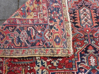 """Heriz 320 x 250 cm., 10'8"""" x 8'3"""". In very good condition and with good pile all over without wear. One bit of a selvedge needs attention ( close-up pic. ) and  ..."""