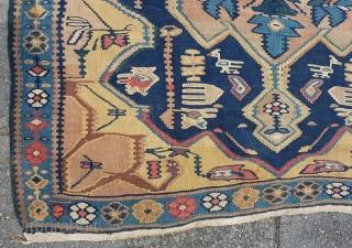 "Antique Senneh/Bidjar Kilim 144 x 114 cm., 4' 8"" x 3' 8""."
