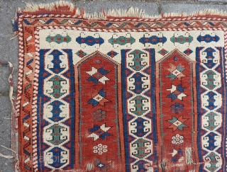 "Antique damaged Kozak/Bergama 19th c. 110 x 82 cm., 3' 7"" x 2' 8""."