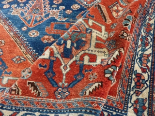 Antique Abadeh Rug, 194  x 150 cm., 6´ 4` x 4´ 11`. Very soft and floppy handle, with full pile all over. One end with loss, and one clumpsy repair (last  ...