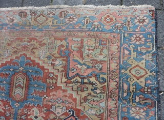 "Antique Heriz, 329  x 216 cm., 10' 10"" x 7'1"", ca. 1900. with soft colours. Missing its outer guard border and with scattered wear. No rot, just dusty."