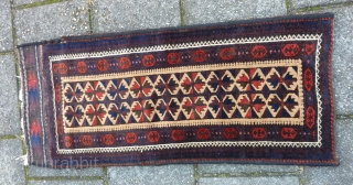 "Strong Baluch balisht with kilim back, 99  x 42 cm., 39"" x 17"". Good condition and pile. All natural dyes except for the three repeating dots in the main border (  ..."