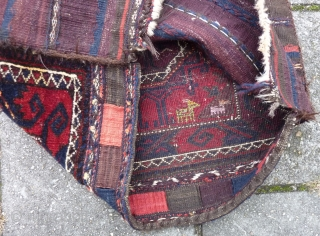 "Baluch Bag, 56  x 57 cm., 22"" x 22"". Animals in silk at the bottom. Perfect pile. Good colours, but probably not for the slightly tip-faded brownish red ( used in  ..."