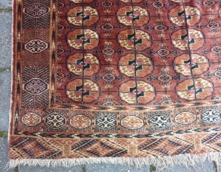 "Fine Tekke turkmen rug, 243  x 178 cm., 8' x 5' 10"". Incredible soft wool, like velvet, very pliable and in good condition, with full pile allover. Selvedges needs rewrapping and  ..."