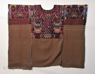 Chichicastenango Gala Huipil from Guatemala.  Exquisitely well woven piece with tight silk and cotton brocading on a brown cotton ground.  Traditional weft cording showing under brocade motifs on arms.   ...
