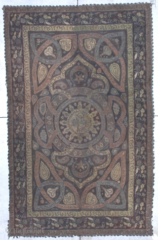 "This Ottoman  tapestry bears the Tugra of Mustafa IV and dates from 1807-1808. It measures 5'2' X 8'5"". It has metal embroidery. It has a new silk backing. It has Islamic  ..."