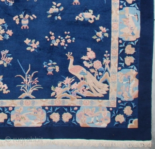 """#7314 Antique Art Deco Chinese Rug 11'3"""" X 17'6"""" This circa 1930 Feti Chinese Art Deco rug measures 11'3"""" X 17'6"""". It has a navy blue field with good luck calligraphy 'Shou' repeated  ..."""