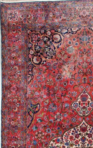 "This circa 1920 antique Kashan Persian Oriental carpet measures 9'6"" X 19'10"" (292 x 609). This carpet of unbelievable quality is woven with Manchester wool. It has a large pulled medallion  ..."