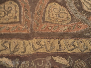 "http://www.antiqueorientalrugs.com/CLOSEUP%20PAGES/7217%20Ottoman%20Tapestry.htm This 19th century Ottoman  tapestry, table cover, curtain measures 5'2' X 8'5"". It has metal embroidery. It has a new silk backing. It has Islamic writing and motifs such as  ..."