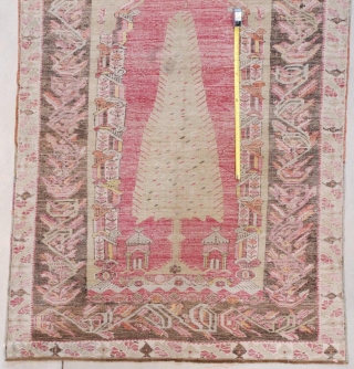 "This Melez measures 4'3"" X 6'0"" (131 x 183 cm). The second image of the rug is a back shot. Do you see the Lazy Lines along the measuring tape used to  ..."