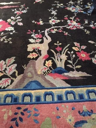 """#7066 Antique Art Deco Chinese Peking Rug   This circa 1910 Peking weave Art Deco Chinese design Oriental rug measures 8' 11"""" x 11' 9 """" (277 x 362 cm). This carpet is  ..."""