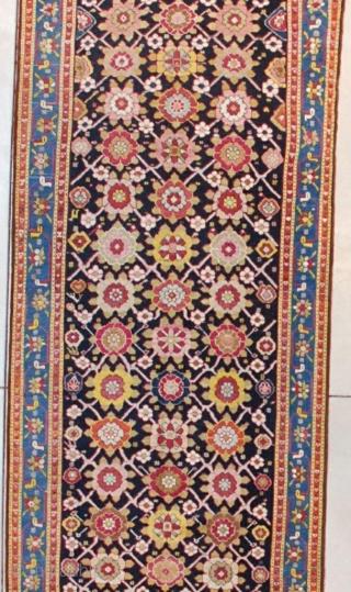 "#7628 Karabaugh Antique Caucasian Rug   This first half 19th century Karabaugh antique Oriental Rug runner measures 3'5""  X 16'2"" ( 106 x 494 cm). It has a really lovely Minekani design.  ..."