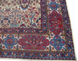 #5927 Laver Kerman Persian Antique Rug  Size: 9'9″ X 14'6″  Age: Circa 1880   https://antiqueorientalrugs.com/product/5927-laver-kerman-persian-antique-rug/