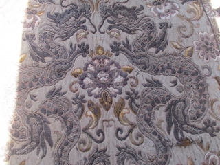 """Antique European Velvet and Metal Tapestry Table Runner  #7968 This European Velvet and Metal Tapestry Table Runner measures 2'3"""" x 4'10"""". It is most likely Austrian. It is composed of three pieces.  ..."""
