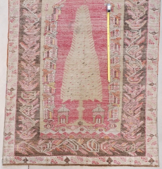 """#7625 Melez  This Melez measures 4'3"""" X 6'0"""" (131 x 183 cm). The second image of the rug is a back shot. Do you see the Lazy Lines along the measuring tape used  ..."""
