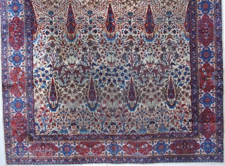 """#5927 Laver Kerman This circa 1880 Laver Kerman measures 9'9"""" X 14'6"""". It has an ivory field with a one way overall design of red potted trees interspersed with a wild entangled design  ..."""