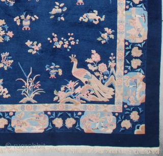"""#7314 Art Deco Chinese Rug This circa 1930 Feti Chinese Art Deco rug measures 11'3"""" X 17'6"""". It has a navy blue field with good luck calligraphy 'Shou' repeated four times in the  ..."""