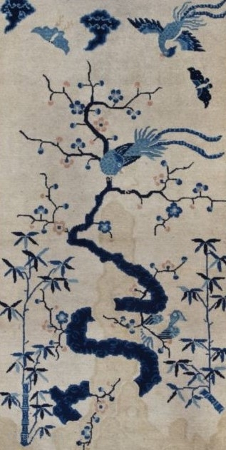 """#7743 Peking Chinese Rug  This circa 1910 Peking Chinese antique rug measures 3'1"""" X 5'10"""" (94 x 180 cm). It has bamboo growing up the sides of the field flanking a twisty  ..."""