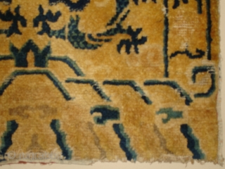 """http://www.antiqueorientalrugs.com/CLOSEUP%20PAGES/4546%20tibetan.htm This circa 1850 Ningxia Chairback measures 2'2"""" X 2'5"""". The buyer pays the shipping. Please visit our website at www.antiqueorientalrugs.com  INVENTORY #  4546"""