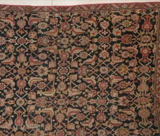 "#5454 Karabaugh Antique Caucasian Rug  This mid 19th century Karabaugh antique Oriental rug measures 6'7"" X 12'2"". It has a mid 18th century design. It is a modified Herati design where the  ..."