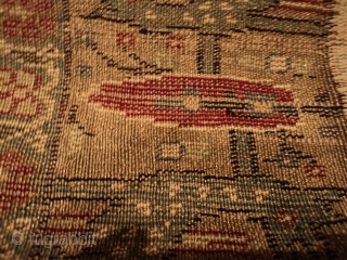 """http://www.antiqueorientalrugs.com/CLOSEUP%20PAGES/7296%20Kayseri.htm This Turkish Kayseri silk and metal rug measures 4'4"""" x 6'10"""". It has a center medallion with a double Kum Kopu prayer niche at either end completely covered in a floral  ..."""