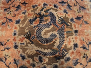"""#7592 Ningxia  This antique Ningxia measuring 4'1"""" X 7'2"""" (124 x 219 cm) has 5 - five toed dragons on a silk ground with metal. The design has blue and white checked dragons  ..."""