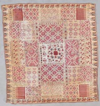 "This antique Greek Islands embroidery measures 3'6"" X 3'10"" (109 x 119 cm). It is constructed of panels with eight pointed stars and crosses with little houses embroidered around the borders. These  ..."