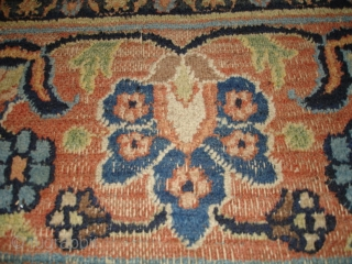 "This Antique Khorassan Persian Oriental Carpet measures 10'1"" X 17'3"". It has a large lobed pulled medallion with a sky blue center surrounded by peach, filled with meandering vines and flowers and  ..."